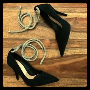 Zara Black Velvet Heels w/ Silver Rope Ankle Strap